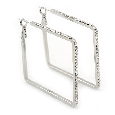 Rhodium Plated Crystal Square Hoop Earrings - 45mm Width - main view