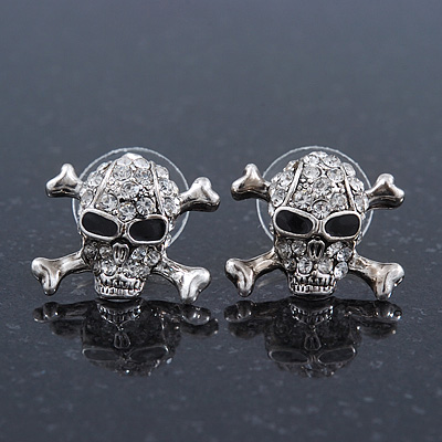 Rhodium Plated Crystal 'Skull & Crossbones' Stud Earrings - 15mm Length