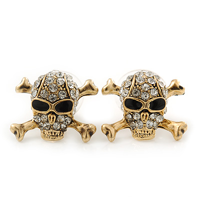 Gold Plated Crystal 'Skull & Crossbones' Stud Earrings - 15mm Length