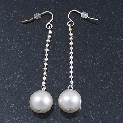 Silver Tone Bead Chain With White Faux Pearl Drop Earrings - 70mm Length