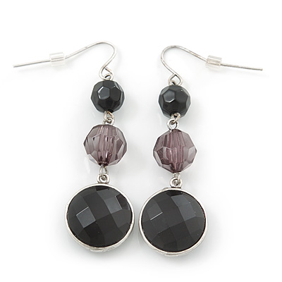 Black Acrylic Bead Drop Earrings In Silver Tone - 5cm Length - main view