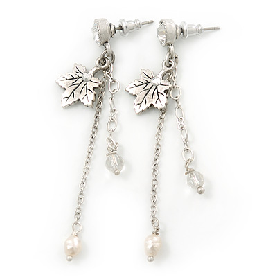 Silver Tone Maple Leaf, Chain Dangle, Freshwater Pearl Drop Earrings - 60mm Length