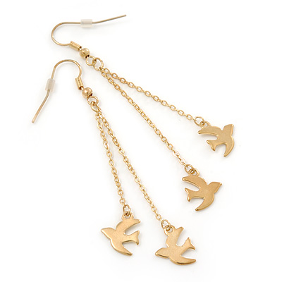 Long Gold Plated Chain 'Swallow' Dangle Earrings - 7cm Length