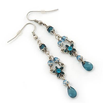 Teal Green Crystal, Bead Floral Drop Earrings In Silver Tone - 70mm Length