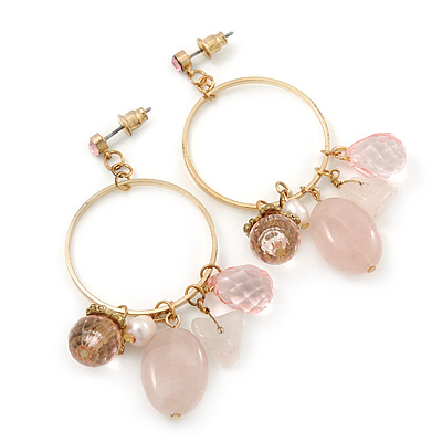 Vintage Inspired Glass Bead, Freshwater Pearl, Rose Quartz Stone Hoop Earrings In Gold Plating - 65mm Length