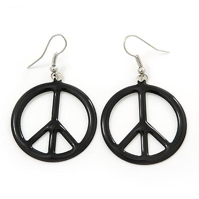 Black Enamel 'Peace' Drop Earrings In Silver Plating - 50mm Length