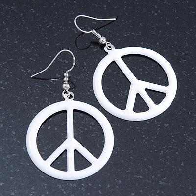 White Enamel 'Peace' Drop Earrings In Silver Plating - 50mm Length