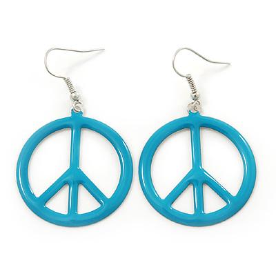 Light Blue Enamel 'Peace' Drop Earrings In Silver Plating - 50mm Length