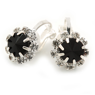 Small Black/ Clear Crystal Floral Clip On Earrings In Silver Tone - 15mm L