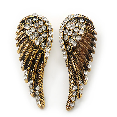 Vintage Inspired Diamante 'Angel Wings' Stud Earrings In Antique Gold Metal - 40mm Length