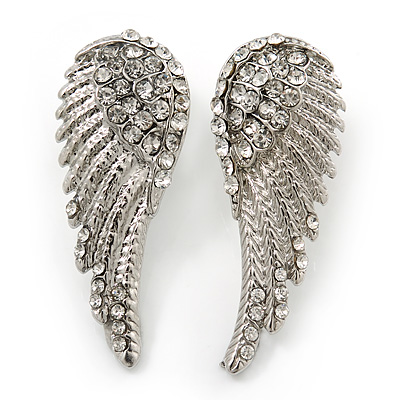 Diamante 'Angel Wings' Stud Earrings In Silver Tone Metal - 40mm Length