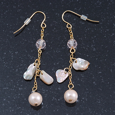 Pale Pink Simulated Pearl, Mother of Pearl Chain Drop Earrings In Gold Plating - 60mm Length