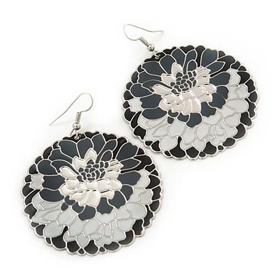 Black/ White/ Grey Round Enamel Hammered 'Rose' Drop Earrings In Silver Tone - 60mm Length