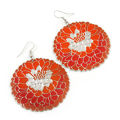 Orange/ Brick Red Round Enamel Hammered 'Rose' Drop Earrings In Silver Tone - 60mm Length
