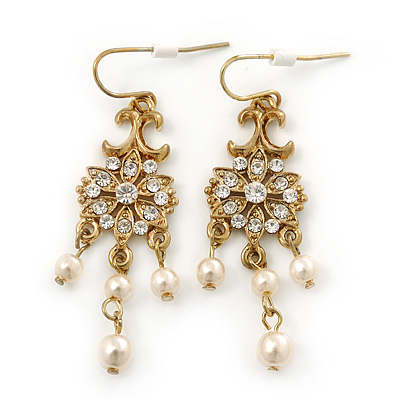 Vintage Inspired Diamante, Simulated Pearl Floral Drop Earrings In Gold Plating - 50mm Length - main view