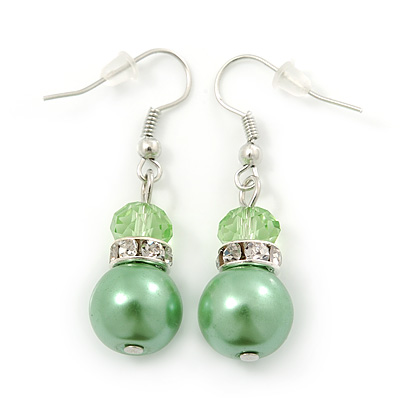 Lime Green Simulated Glass Pearl, Crystal Drop Earrings In Rhodium Plating - 40mm Length - main view