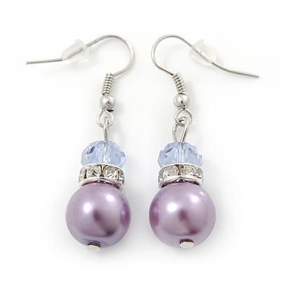 Purple Simulated Glass Pearl, Crystal Drop Earrings In Rhodium Plating - 40mm Length