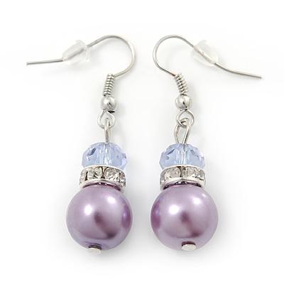 Purple Simulated Glass Pearl, Crystal Drop Earrings In Rhodium Plating - 40mm Length