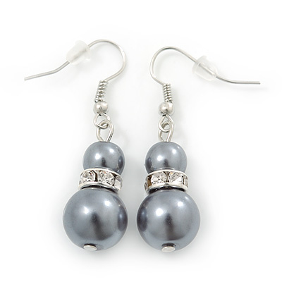 Grey Simulated Glass Pearl, Crystal Drop Earrings In Rhodium Plating - 40mm Length