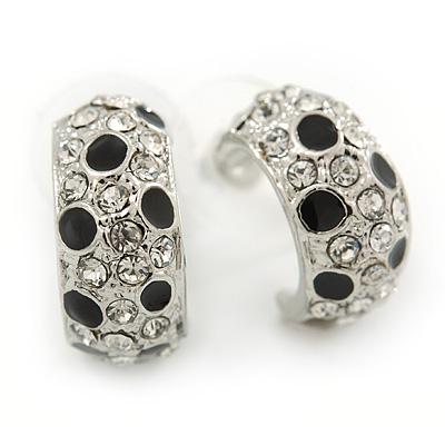 Silver Tone Clear Crystal, Black Enamel C Shape Hoop Earrings - 18mm D
