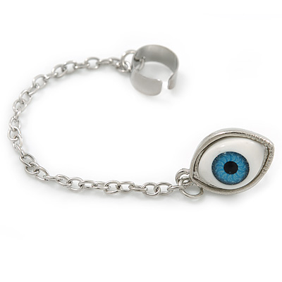 One Piece Evil Eye Stud & Chain Ear Cuff In Silver Plating