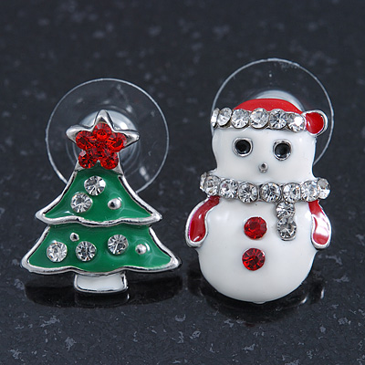 Green Christmas Tree & White Snowmen Diamante Stud Earrings In Rhodium Plating - 20mm Width