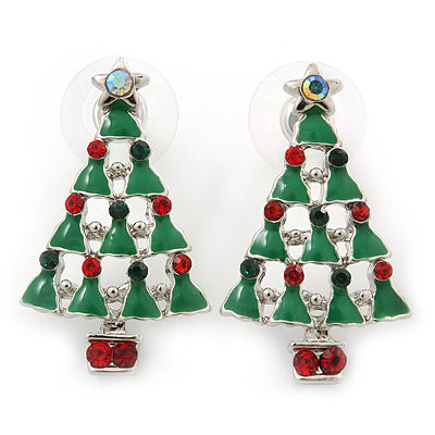 Red, Deep Green Crystal, Green Enamel Christmas Tree Stud Earrings In Rhodium Plating - 30mm Length