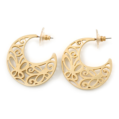 Medium Matt Gold Filigree Creole Hoop Earrings - 30mm Diameter
