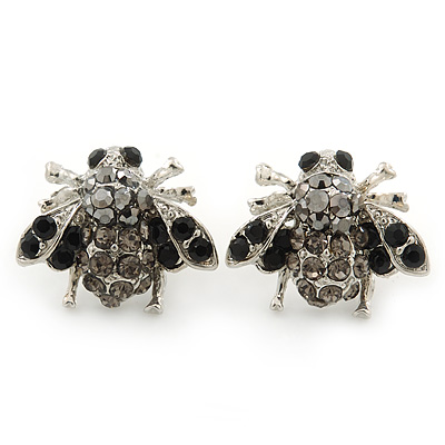 Funky Black, Grey, Hematite Crystal 'Fly' Stud Earrings In Silver Tone - 20mm Width