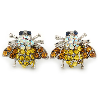 Funky AB, Citrine, Orange Crystal 'Fly' Stud Earrings In Silver Tone - 20mm Width