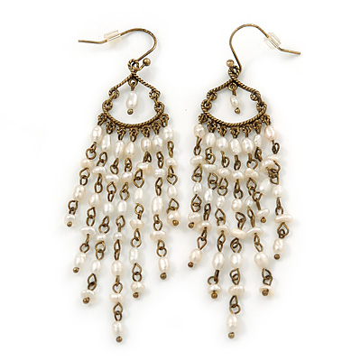Vintage Inspired Freshwater Pearl Chandelier Earrings In Bronze Tone Metal - 80mm L