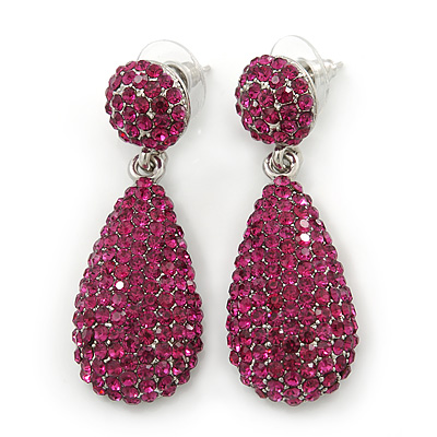 Bridal, Prom, Wedding Pave Fuchsia Austrian Crystal Teardrop Earrings In Rhodium Plating - 48mm Length