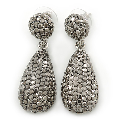 Bridal, Prom, Wedding Pave Hematite Coloured Austrian Crystal Teardrop Earrings In Rhodium Plating - 48mm Length - main view