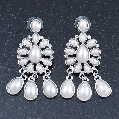 Bridal, Wedding, Prom Glass Pearl Chandelier Earrings In Rhodium Plating - 60mm Length