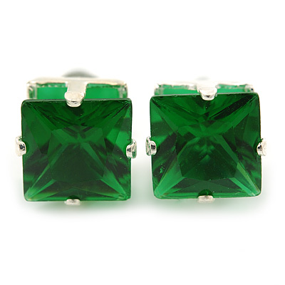 Classic Green Crystal Square Cut Stud Earrings In Silver Plating - 8mm Diameter
