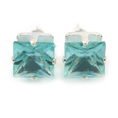 Classic Light Aqua Crystal Square Cut Stud Earrings In Silver Plating - 8mm Diameter