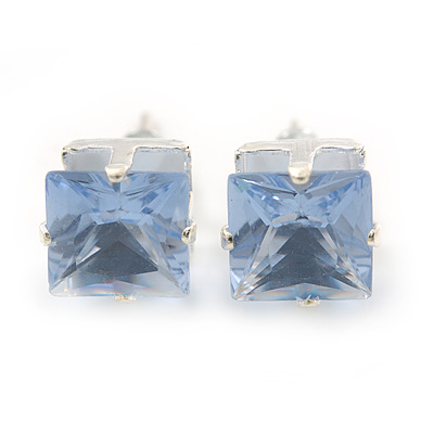 Classic Pale Lavender Crystal Square Cut Stud Earrings In Silver Plating - 8mm Diameter