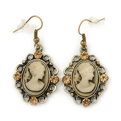 Vintage Inspired Champagne Crystal Cameo Drop Earrings In Antique Gold Metal - 45mm Length - main view