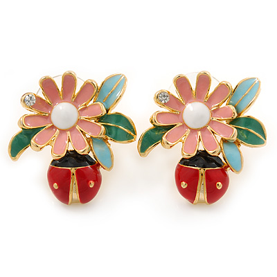 Multicoloured Enamel Flower & Ladybug Stud Earrings In Gold Metal - 23mm Width