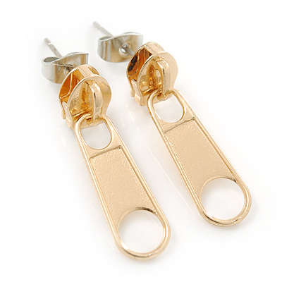 Small Gold Tone Metal Zipper Stud Earrings - 25mm Length - main view