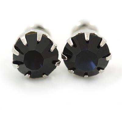 Round Cobalt Blue Jewelled Stud Earrings In Silver Tone - 8mm