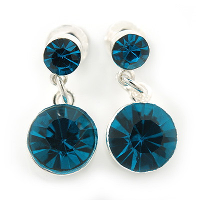 Small Teal Blue Crystal Drop Earrings In Silver Tone - 20mm L