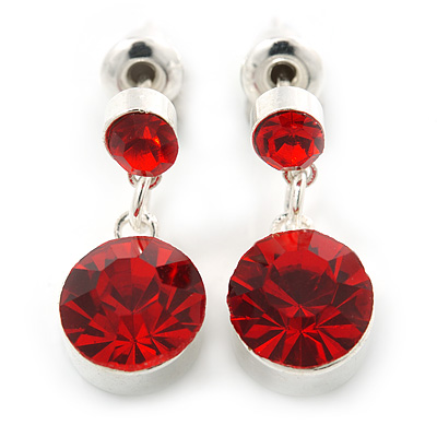 Small Ruby Red Crystal Drop Earrings In Silver Tone - 20mm L