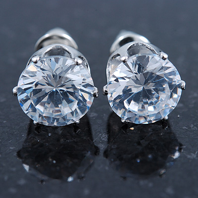 Clear CZ Round Cut Stud Earrings In Rhodium Plating - 8mm
