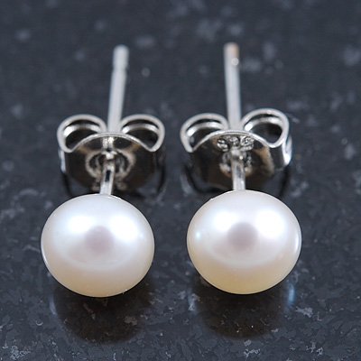 6mm Cream Freshwater Pearl Sterling Silver Stud Earrings - Boxed