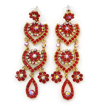 Red chandelier earrings avalaya divine extravagance red ab austrian crystal chandelier earrings in gold tone 80mm l aloadofball Gallery