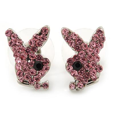 Cute Pink Austrian Crystal Bunny Stud Earrings In Rhodium Plating - 15mm L