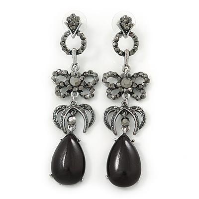 Gun Metal Black Swarovski Crystal Teardrop Earrings - 7.5cm Drop TCuap