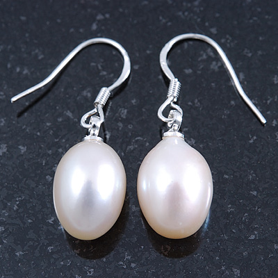 Bridal/ Prom Oval Shape Cream Freshwater Pearl Drop Earrings 925 Sterling Silver - 30mm L