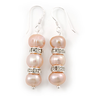 7mm Delicate Pale Pink Freshwater Pearl With Crystal Ring Drop Earrings 925 Sterling Silver - 40mm L